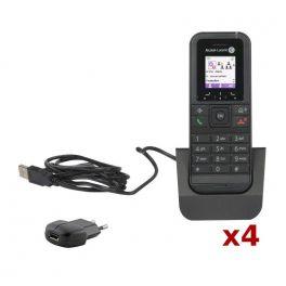 Pacco 4 Cordless Alcatel-Lucent 8232 DECT + Base di carica ed alimentatore