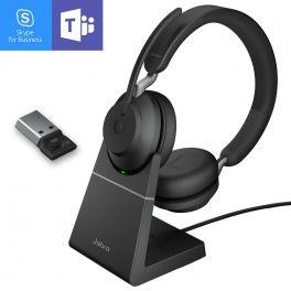 Jabra Evolve2 65 USB-A MS Stereo con base - Nero