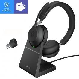 Jabra Evolve2 65 USB-C MS Duo con supporto di ricarica - Nero