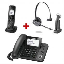 Telefono Fisso Panasonic KX-TGF310 + Cuffia Plantronics C565