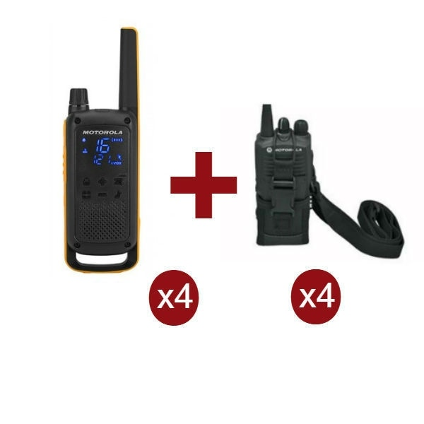 Pack Quartetto Motorola Talkabout T82 Extreme, 4x Custodie Universali