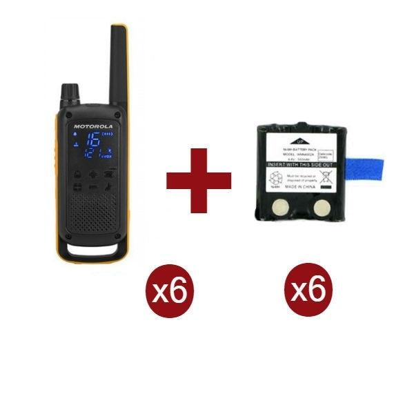 Motorola Talkabout T82 Extreme x6 + Batterie di ricambio x6