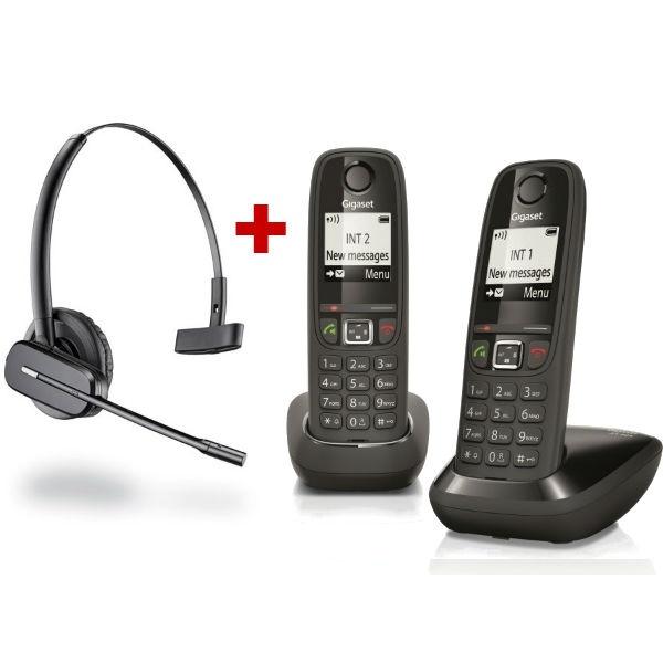 Cordless Gigaset AS405 Duo + Cuffia wireless Plantronics C565