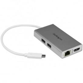 Adattatore Multifunzione USB-C per portatili - Power Delivery - 4K HDMI - Gbe - USB 3.0 - Bianco e Argento