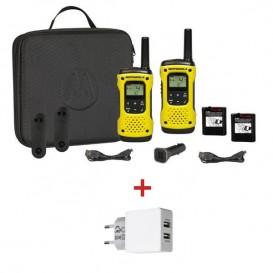 Coppia Ricetrasmittenti Motorola T92 H2O + 1 adattatore doppio USB / corrente