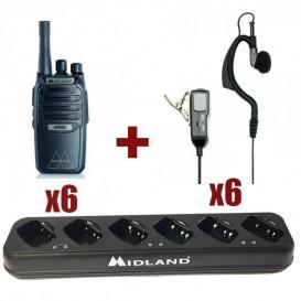 Pack 6 Midland BR-02 + 6 auriculari + caricabatterie multiplo