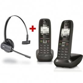 Cordless Gigaset AS405 Duo + Cuffia wireless Plantronics C565