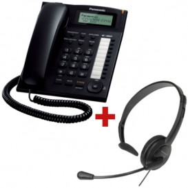 Telefono fisso Panasonic KX-TS880  + Cuffia Panasonic RP-TCA 400 (Jack 2.5 mm)