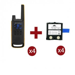 Pack Motorola Talkabout T82 Extreme x4 + Batterie di ricambio x4