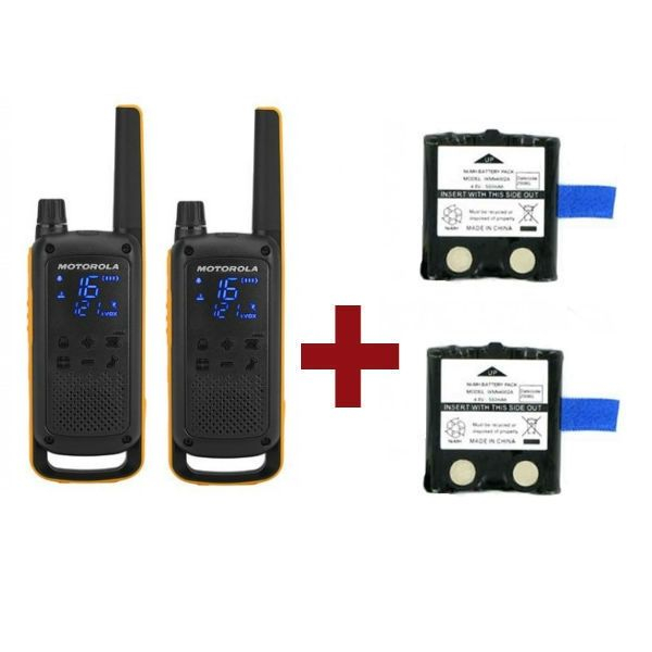 Pack Motorola Talkabout T82 Extreme x2 + Batterie di ricambio x2